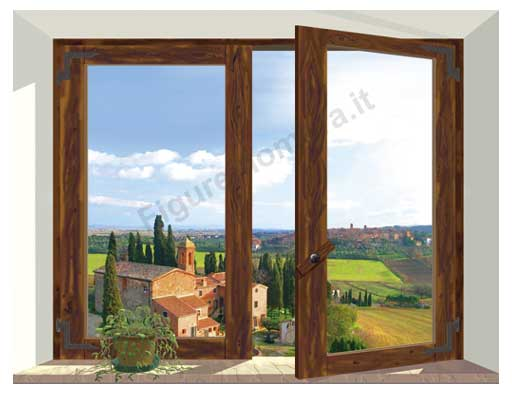 F58 finestra marrone in toscana 120x92cm for Finestra antica
