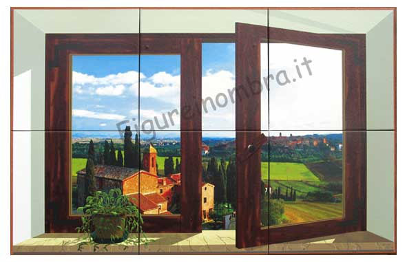 St f19 finestra antica in toscana 60x40cm cotto 6 pz for Finestra antica